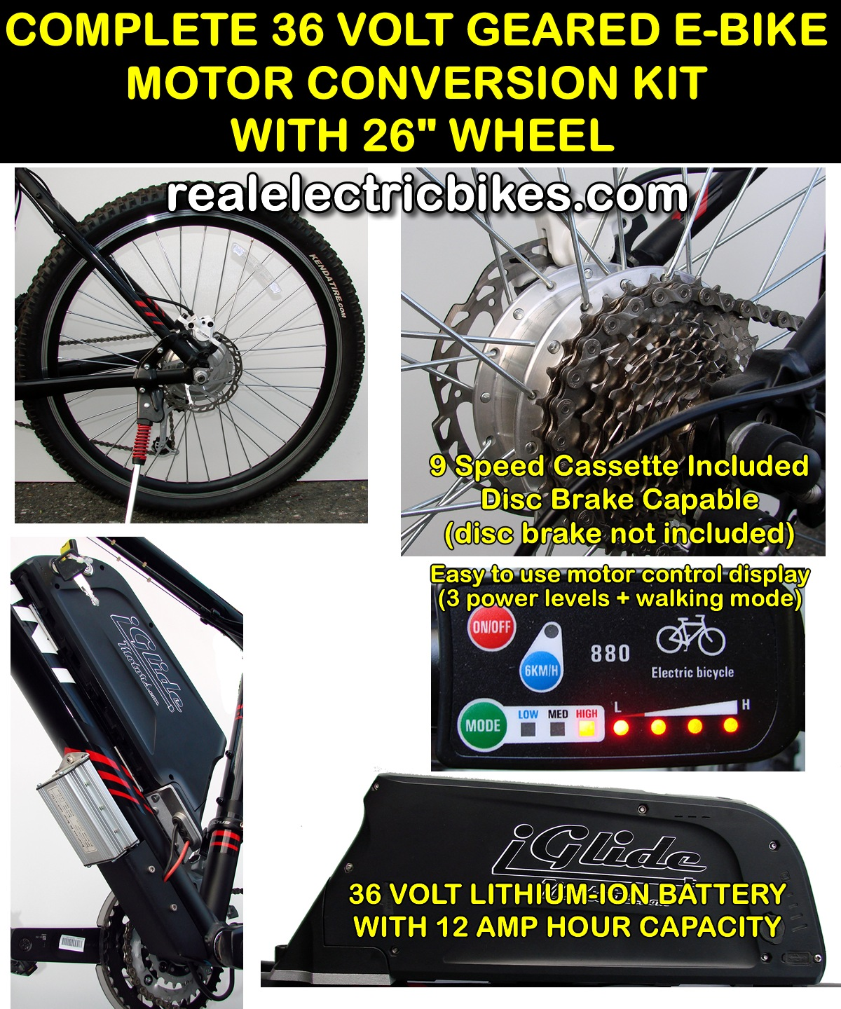 Complete 36 volt 350 watt rear wheel electric assist for Motor assisted bicycle kit