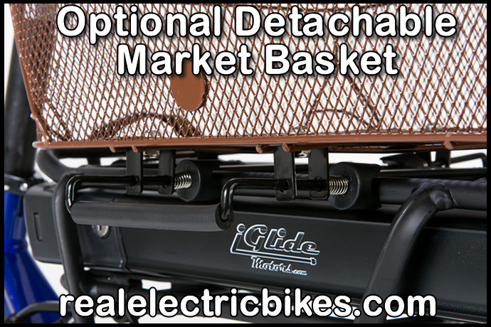 optional detachable market basket and heavy duty cargo rack