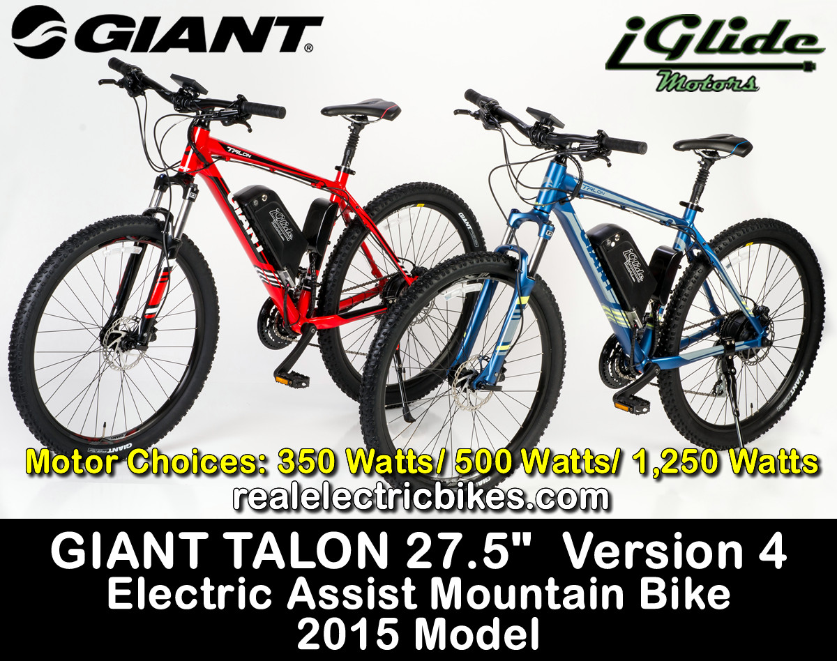 6ac7ccf7bb8 GIANT TALON 27.5 VERSION 4. ELECTRIC ASSIST MOUNTAIN BICYCLE. Electric  assist commuter bike, cruiser bike, mountain bike by Lithionics iGlide  Electric ...