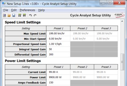Screen Capture of Cycle Analyst Setup Utility Program