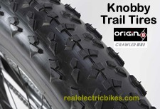 Knobby fat tire bike trail tires come equipped on the Origin 8 Crawler high output fat tire trail bike