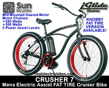 Sun Bicycles Crusher 7 Mens and Womens Step-thru Electric Beach Cruiser Bikes