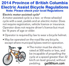 Click on this image to learn about Electric Assist Bicycle Regulations...