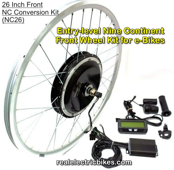 Nine Continent front wheel e-bike motor conversion kit, options and details...