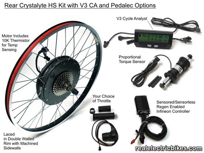 Crystalyte the crown motor 1200 watt h3540 48 volt rear for Motor assisted bicycle kit