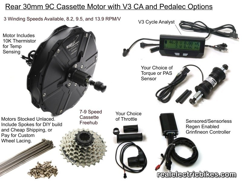 Nine continent 1000 watt m3006rc 48 volt advanced rear for Motor assisted bicycle kit