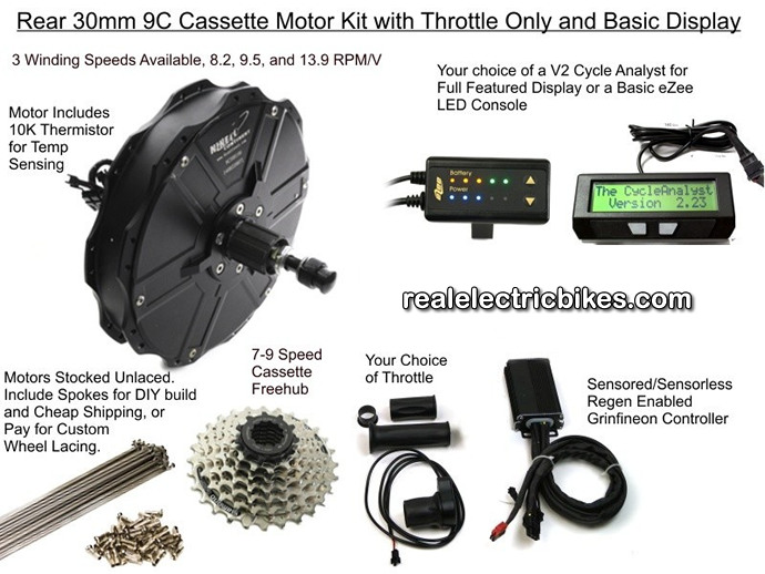 Click here to see a larger Nine Continent e-bike motor conversion kit graphic, options and details...