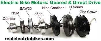 36 Volt to 72 Volt electric bike conversion motors by Outrider, NSM, SAW20, eZee, Nine Continent and Crystalyte Crown and H series motors.