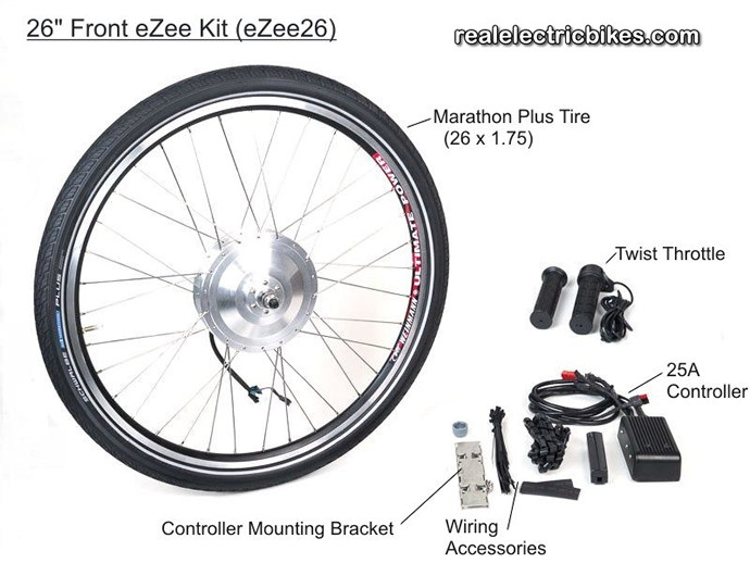 Click here to see a larger eZee e-bike motor conversion kit graphic, options and details...