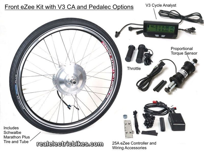 Front wheel eZee e-bike motor conversion kit, options and details...