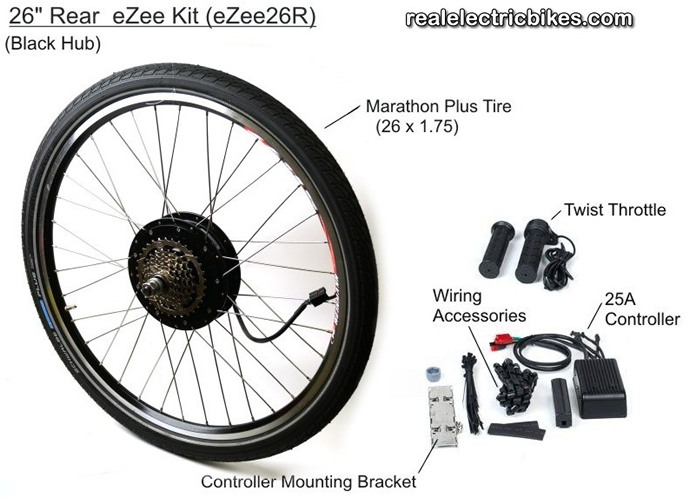 Basic ezee 48 volt 1000 watt rear wheel electric assist for Motor assisted bicycle kit